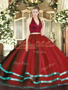 Sleeveless Tulle Floor Length Zipper Sweet 16 Dresses in Wine Red with Ruffled Layers