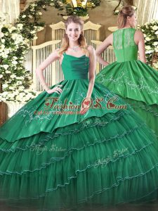 Stunning Sleeveless Embroidery and Ruffled Layers Zipper Quinceanera Gown