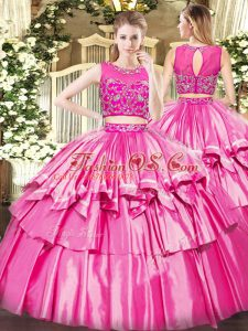 Floor Length Zipper Vestidos de Quinceanera Rose Pink for Military Ball and Sweet 16 and Quinceanera with Beading and Ruffled Layers