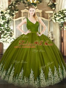 Sleeveless Tulle Floor Length Backless Quinceanera Dresses in Olive Green with Beading and Lace and Appliques