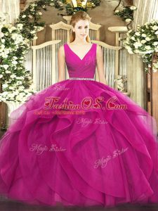 Glamorous Fuchsia Tulle Zipper Quinceanera Dresses Sleeveless Floor Length Beading and Ruffles