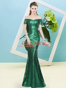 Delicate Floor Length Dark Green Prom Gown Sequined Short Sleeves Sequins