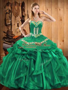 Embroidery and Ruffles Quince Ball Gowns Green Lace Up Sleeveless Floor Length