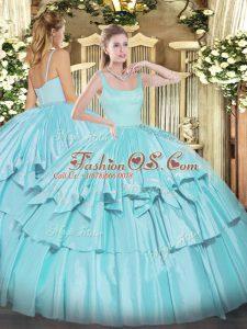 New Style Straps Sleeveless Zipper Sweet 16 Dresses Aqua Blue Organza and Taffeta