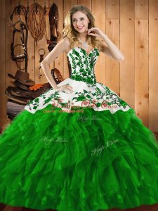 High Quality Green Sleeveless Embroidery and Ruffles Floor Length Quince Ball Gowns