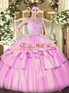 Bateau Sleeveless Quinceanera Gowns Floor Length Beading and Ruffled Layers Lilac Tulle