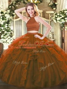 Brown Halter Top Neckline Beading and Ruffles 15th Birthday Dress Sleeveless Backless