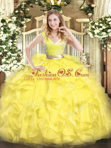 Yellow Quinceanera Dress Military Ball and Sweet 16 and Quinceanera with Beading and Ruffles V-neck Sleeveless Zipper