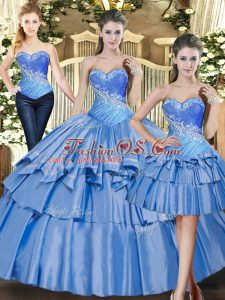 Baby Blue Sweetheart Lace Up Beading and Ruffled Layers 15 Quinceanera Dress Sleeveless