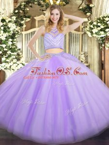 Dramatic Scoop Sleeveless Tulle Quince Ball Gowns Beading Zipper