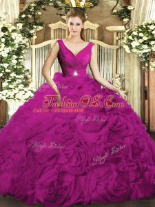 Elegant Organza and Fabric With Rolling Flowers V-neck Sleeveless Backless Beading and Ruching Quinceanera Gown in Fuchsia