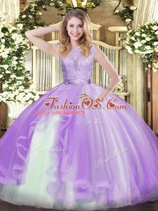 Sweet Sleeveless Lace and Ruffles Backless Quinceanera Gowns