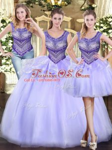 Sophisticated Lavender Tulle Lace Up Scoop Sleeveless Floor Length Quinceanera Dresses Beading and Ruffles