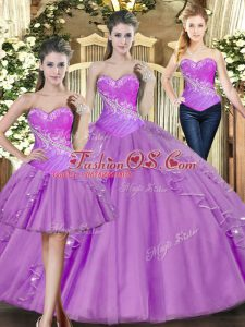Fashionable Lilac Sweetheart Neckline Beading 15 Quinceanera Dress Sleeveless Lace Up