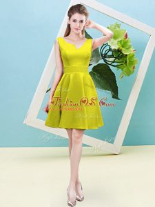 Wonderful Yellow Sleeveless Satin Zipper Damas Dress for Prom and Party and Wedding Party