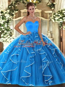 Beauteous Aqua Blue Organza Lace Up Sweetheart Sleeveless Floor Length Sweet 16 Quinceanera Dress Beading and Ruffles