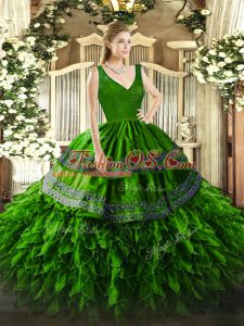 Beading and Lace and Ruffles Sweet 16 Dresses Green Backless Sleeveless Floor Length