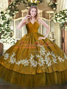 Excellent Floor Length Ball Gowns Sleeveless Brown Quinceanera Dresses Zipper