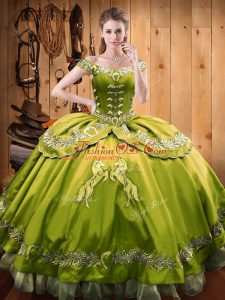 Spectacular Olive Green Off The Shoulder Neckline Beading and Embroidery Quinceanera Gown Sleeveless Lace Up