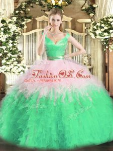 Floor Length Multi-color Quinceanera Gowns Organza Sleeveless Ruffles