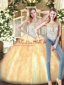 Spectacular Gold Sleeveless Beading and Ruffles Floor Length Quinceanera Gown