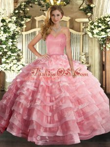 Sleeveless Ruffled Layers Lace Up Quinceanera Dresses