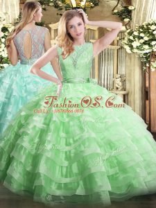 Apple Green Ball Gown Prom Dress Military Ball and Sweet 16 and Quinceanera with Lace and Ruffled Layers Scoop Sleeveless Backless