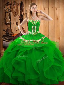 High Quality Green Ball Gowns Embroidery and Ruffles 15th Birthday Dress Lace Up Organza Sleeveless Floor Length