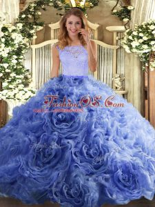 Flirting Organza and Fabric With Rolling Flowers Scoop Sleeveless Zipper Beading and Lace Quinceanera Gowns in Blue