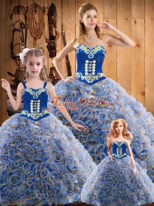 Admirable Multi-color Lace Up Sweetheart Embroidery Ball Gown Prom Dress Fabric With Rolling Flowers Sleeveless Sweep Train