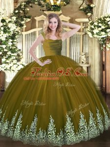 Brown Sleeveless Floor Length Lace and Appliques Zipper 15 Quinceanera Dress