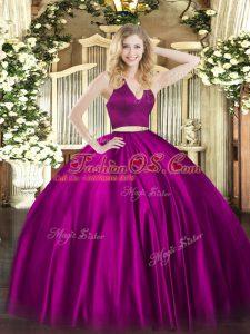 Fuchsia Halter Top Neckline Ruching 15th Birthday Dress Sleeveless Zipper