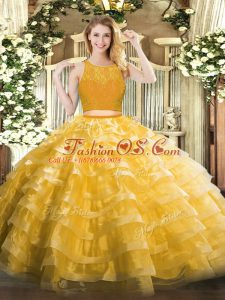 Gold Ball Gowns Scoop Sleeveless Organza Floor Length Zipper Lace and Ruffled Layers 15th Birthday Dress