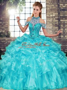 Pretty Aqua Blue Halter Top Neckline Beading and Ruffles Vestidos de Quinceanera Sleeveless Lace Up