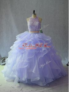 Floor Length Lavender Ball Gown Prom Dress Organza Sleeveless Beading and Ruffles