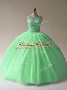 Pretty Sleeveless Floor Length Beading Lace Up Sweet 16 Quinceanera Dress with
