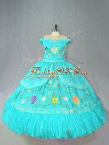 Extravagant Aqua Blue Sleeveless Floor Length Embroidery Lace Up Quinceanera Dresses