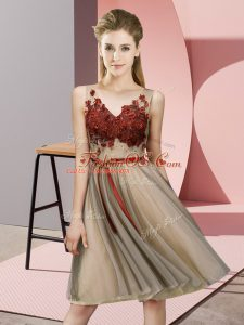 Champagne V-neck Neckline Appliques Wedding Guest Dresses Sleeveless Lace Up