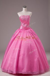 Cute Sleeveless Floor Length Embroidery Lace Up Sweet 16 Dresses with Rose Pink