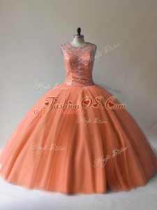 Hot Selling Scoop Sleeveless Tulle Quinceanera Dress Beading Lace Up