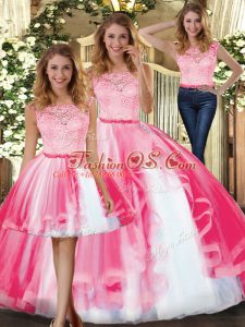 Trendy Hot Pink Sleeveless Tulle Clasp Handle Quince Ball Gowns for Military Ball and Sweet 16 and Quinceanera