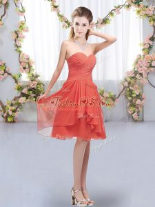 Fine Knee Length Coral Red Bridesmaid Dresses Sweetheart Sleeveless Lace Up