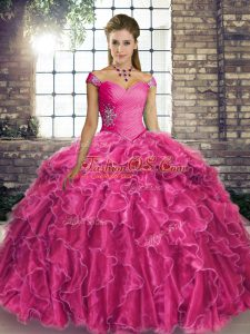 Beautiful Fuchsia Ball Gowns Beading and Ruffles Quinceanera Dress Lace Up Organza Sleeveless