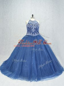 Brush Train Ball Gowns Quinceanera Gown Navy Blue Scoop Tulle Sleeveless Lace Up