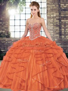 Beading and Ruffles Quinceanera Dress Rust Red Lace Up Sleeveless Floor Length