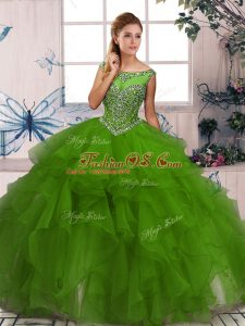 Free and Easy Green Scoop Zipper Beading and Ruffles Ball Gown Prom Dress Sleeveless