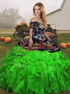 Suitable Organza Off The Shoulder Sleeveless Lace Up Embroidery and Ruffles Sweet 16 Dresses in Green