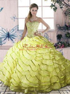 Sleeveless Beading and Ruffled Layers Lace Up Sweet 16 Quinceanera Dress with Yellow Green Brush Train