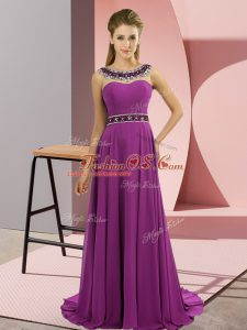 Sophisticated Purple Empire Scoop Sleeveless Chiffon Brush Train Zipper Beading Prom Dresses