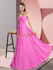 Ruching Juniors Party Dress Rose Pink Lace Up Sleeveless Floor Length